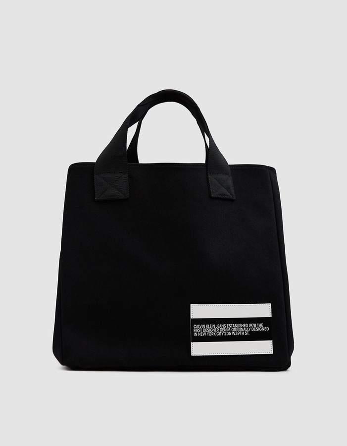 Calvin Klein Jeans Est. 1978 Denim Bucket Tote in Black Rinse