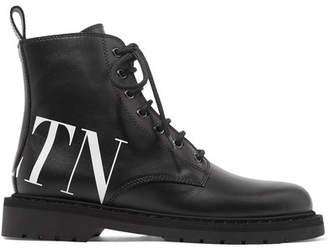 Valentino Garavani Logo-print Leather Ankle Boots - Black