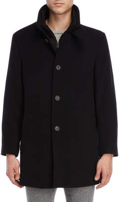 Calvin Klein Black Bib Wool Overcoat