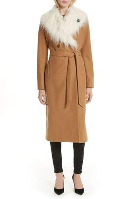 Ted Baker Colour by Numbers Alcaza Wool Coat with Removable Faux Fur Collar
