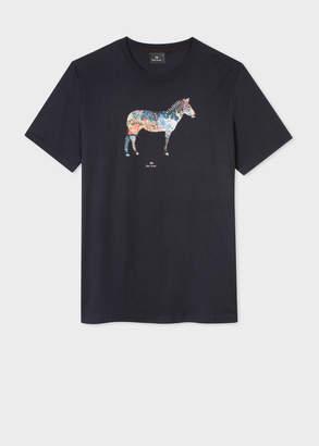 Paul Smith Men's Slim-Fit Navy 'Graffiti Zebra' Print Organic-Cotton T-Shirt
