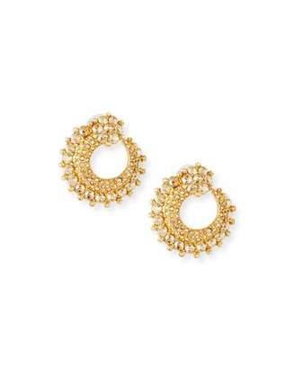 Oscar de la Renta Crystal Curved Earrings