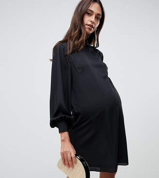 Asos DESIGN Maternity sheer shift mini dress with high neck