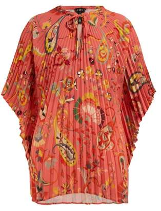 Etro Pleated Floral Print Crepe Blouse - Womens - Pink