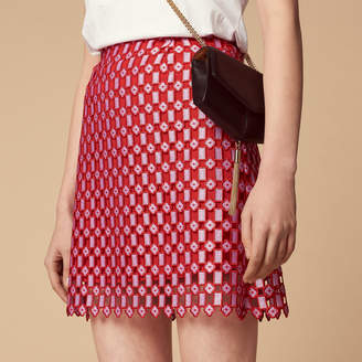 Sandro Two-tone all-over lace skirt