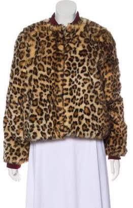 Ganni Leopard Faux Fur Jacket