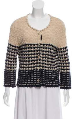 Chanel Two-Tone Button-Up Cardigan