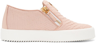 Giuseppe Zanotti Pink Croc-Embossed London Slip-On Sneakers $675 thestylecure.com