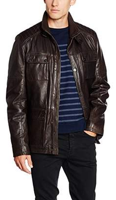 Daniel Hechter Men's Leather Jacket - Brown
