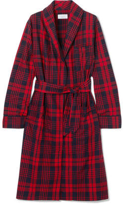 Three J NYC Checked Cotton-flannel Robe - Red