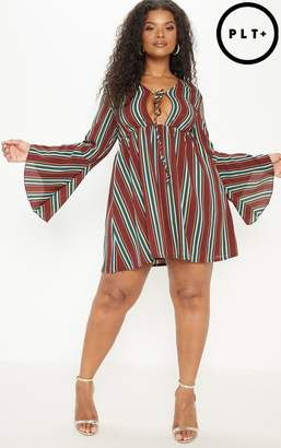 PrettyLittleThing Plus Burgundy Tie Front Striped Swing Dress