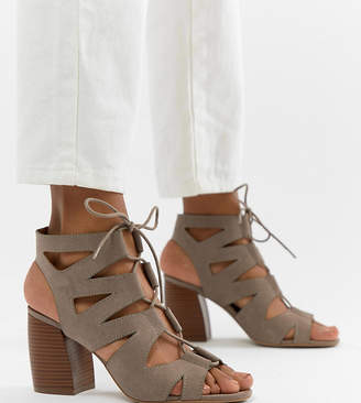 Qupid Lace Up Block Heel Sandals