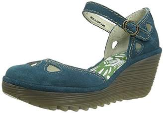 Fly London Yuna Women's Wedge Sandals - Blue (Petrol), (39 EU)