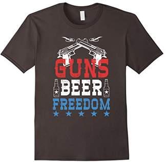 Guns Beer Freedom USA Patriotic Drinking T-shirt 4th Of July