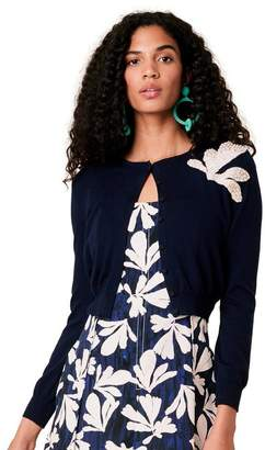 Oscar de la Renta Tossed Seaweed Embroidered Wool Cardigan