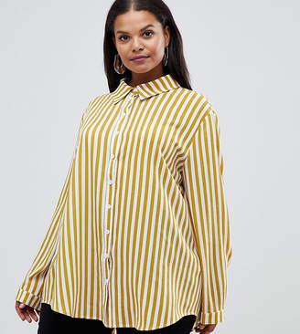 PrettyLittleThing Plus Plus shirt in mustard stripe