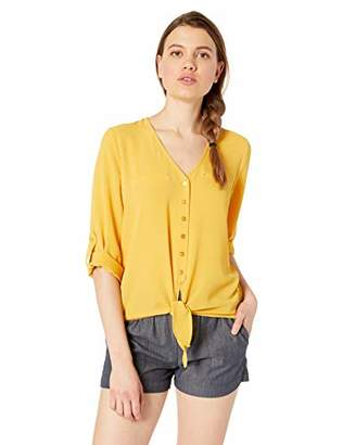 Amy Byer A. Byer V-Neck Woven Top with Tie-Front (Juniors)