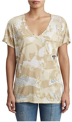 True Religion WOMENS DESERT CAMO V NECK TEE