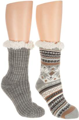 Muk Luks Jojoba Infused Cabin Socks with Faux Fur Set of Two