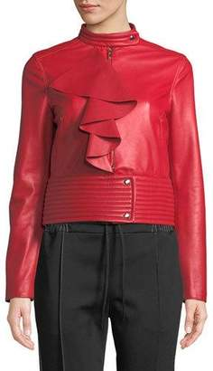 Valentino Agnello Leather Jacket w/ Large Ruffle