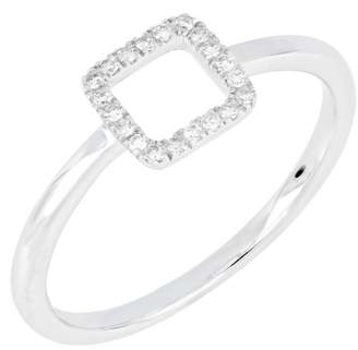 Carriere Sterling Silver Diamond Square Ring - 0.08 ctw