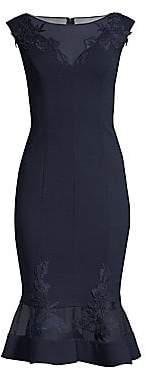 Aidan Mattox Women's Lace Mesh Midi Dress