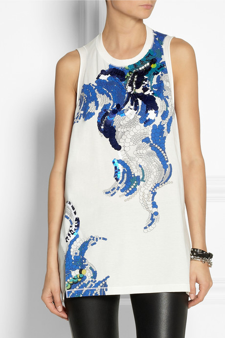3.1 Phillip Lim Embellished printed cotton and silk-chiffon tank