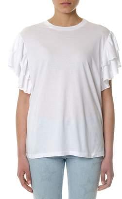 Stella McCartney White Cotton T-shirt With Ruffle Sleeves