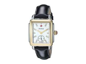 Michele Deco Mid Two-Tone, Diamond Dial On Black Patent Watch