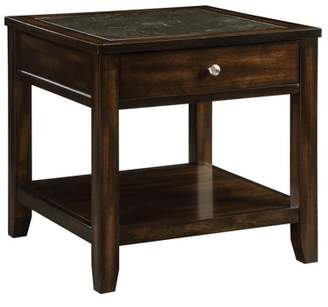 Acme Cilnia Square End Table in Black Marble and Walnut