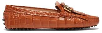 Tod's Gommini Crocodile Effect Leather Loafers - Womens - Tan