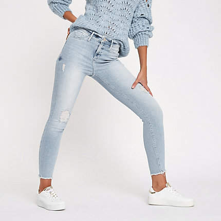 Womens Light Blue Molly distressed skinny jeggings