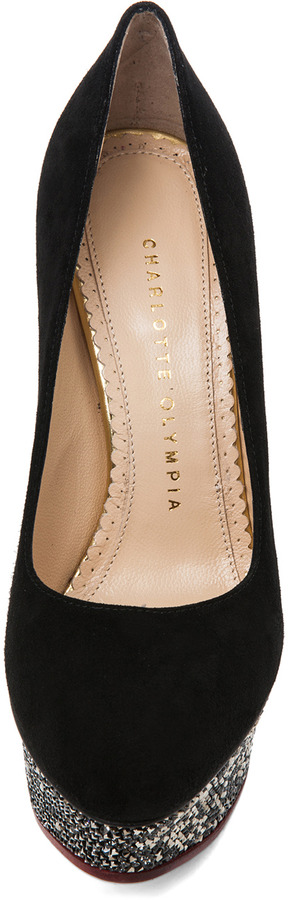 Charlotte Olympia Dolly Signature Court with Swarovski Island Platform in Black