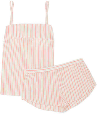 Three J NYC Jolie Striped Cotton-voile Pajama Set - Orange