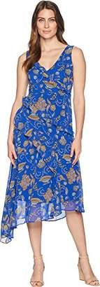 Taylor Dresses Women's Asymmetrical Paisley Print Chiffon v-Neck Sleeveless Dress