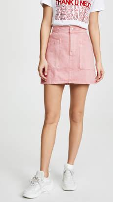 Madewell Rigid Denim High-Waist Straight Mini Skirt: Garment-Dyed Patch Pocket Edition