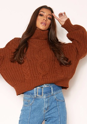 70b8f1e2bd Missy Empire Missyempire Hana Brown Cable Knit Roll Neck Jumper