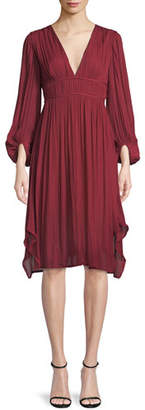 Halston Flowy Bishop Sleeve Ruched Dress