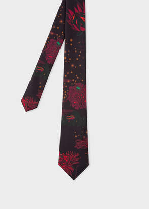 Paul Smith Men's 'Floral And Stars' Print Narrow Silk Tie