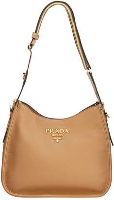 ad4223320e30cb Prada Daino Calf Leather Hobo Bag with Crossbody Strap