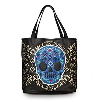 Loungefly Blue Skull /Gold Detail Tote Bag (Multi Colored)