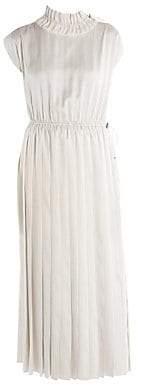Fendi Women's Pinstripe Cap Sleeve Satin Midi Dress