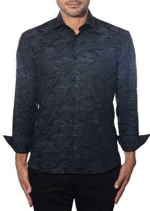Bertigo Black Camo Printed Button Front Shirt