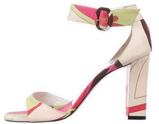 Emilio Pucci Printed Ankle Strap Sandals