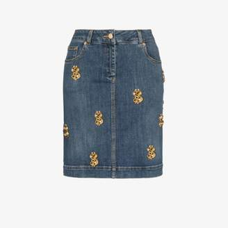 Moschino dollar applique denim skirt