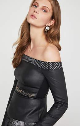 BCBGMAXAZRIA Faux Leather Peplum Top