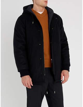 Sandro Hooded wool-blend parka coat