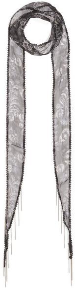 Chan LuuChan Luu - Embellished Printed Georgette Scarf - Black