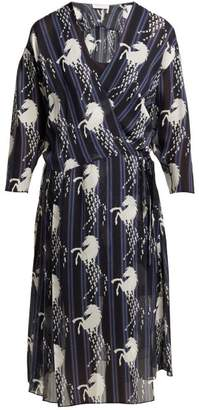 Chloé Little Horses Print Silk Georgette Wrap Dress - Womens - Blue Print
