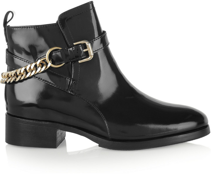 McQ Paddock chain-detailed glossed-leather ankle boots